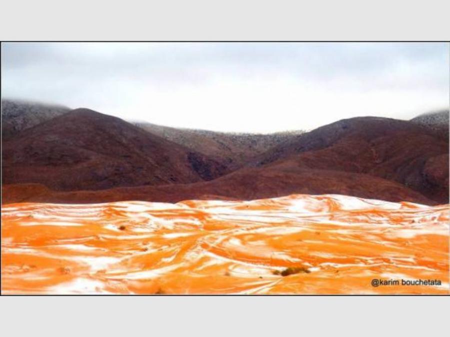 Portada  Así se cubrió de nieve el desierto del Sahara